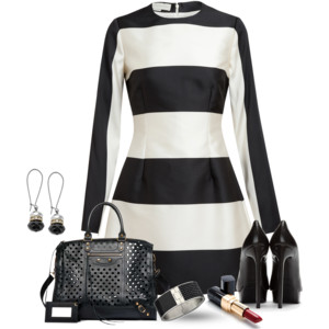 outfit bianco nero abito stella mccartney Balenciaga Kraft Polka Dots BlackSaint Laurent Black Leather Classic Janis Platform Pumps