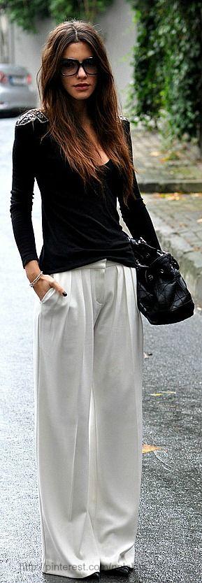 pantaloni palazzo bianchi