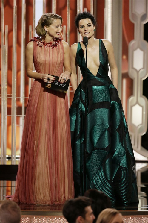 Amber Heard in Gucci Couture. Jaimie Alexander in Genny